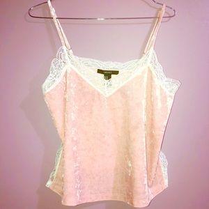Pink Velvet Spaghetti Strap Top White Lace
